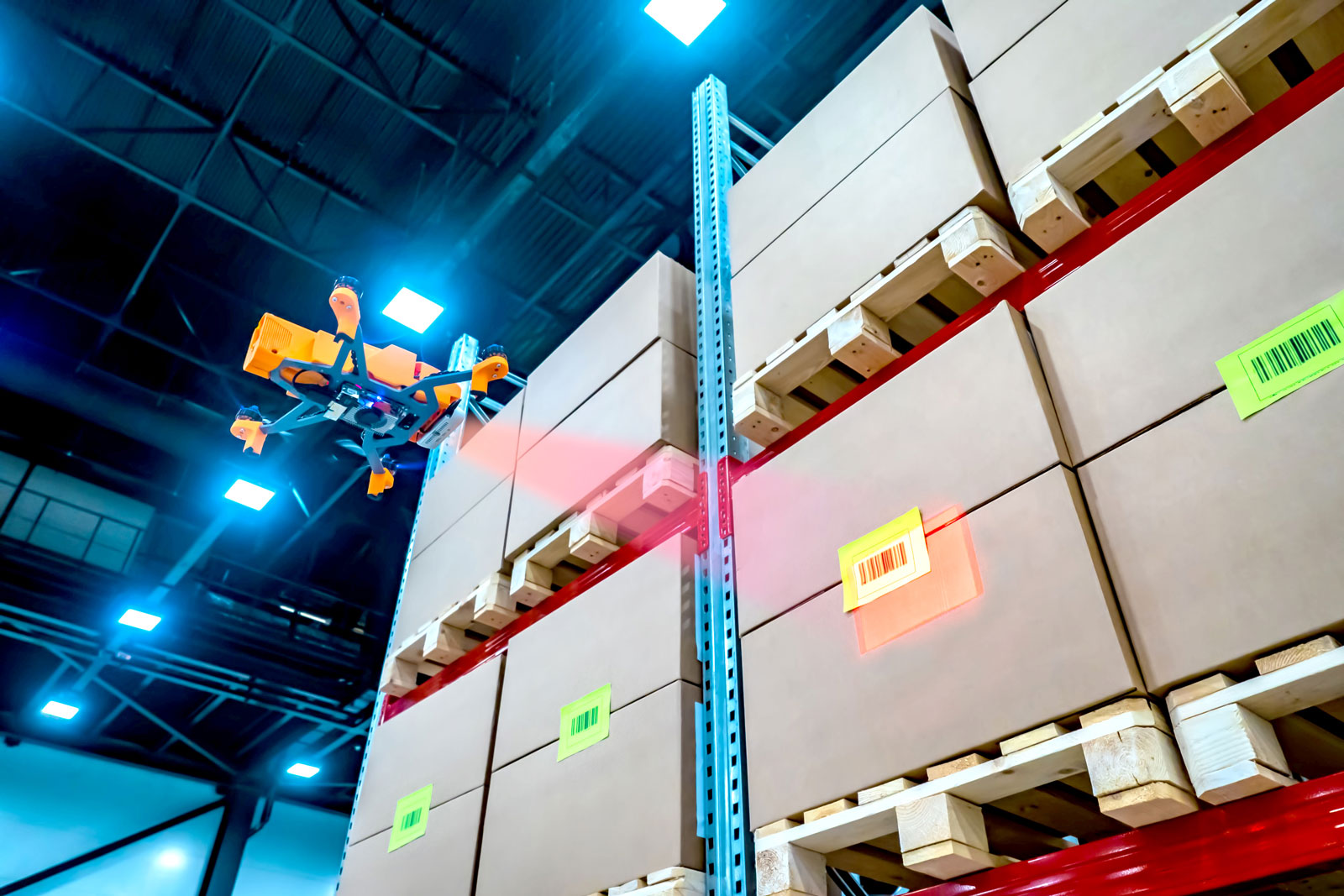 warehouse drone scanning barcode
