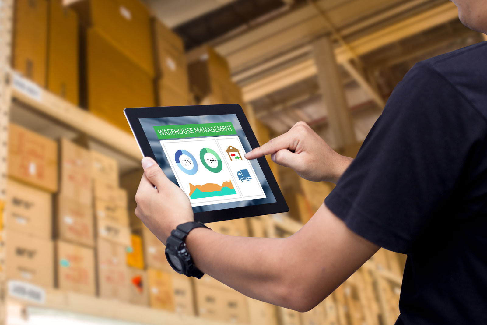smart warehouse working with ipad
